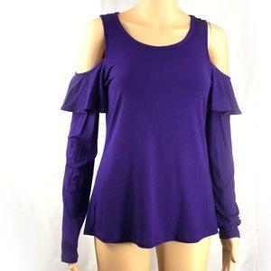 Women's Michael Kors Cold Shoulder Purple Blouse